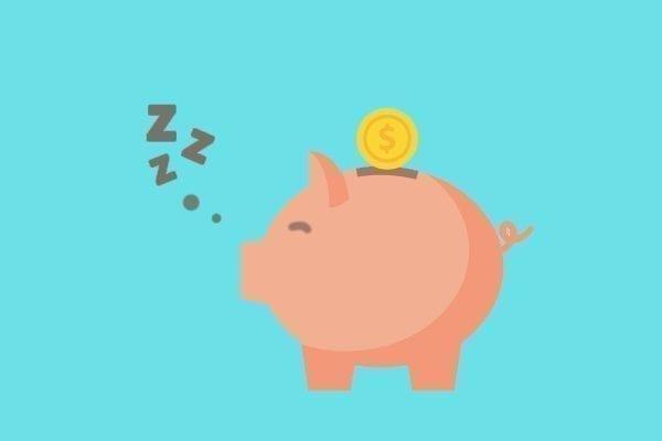 Piggy bank sleeping