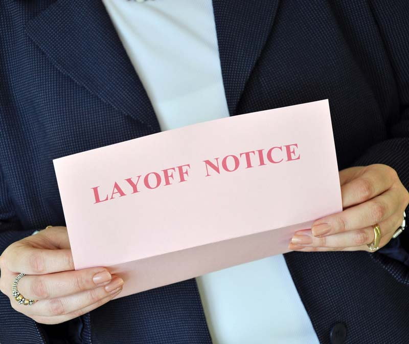 Pink Slip that reads Layoff Notice