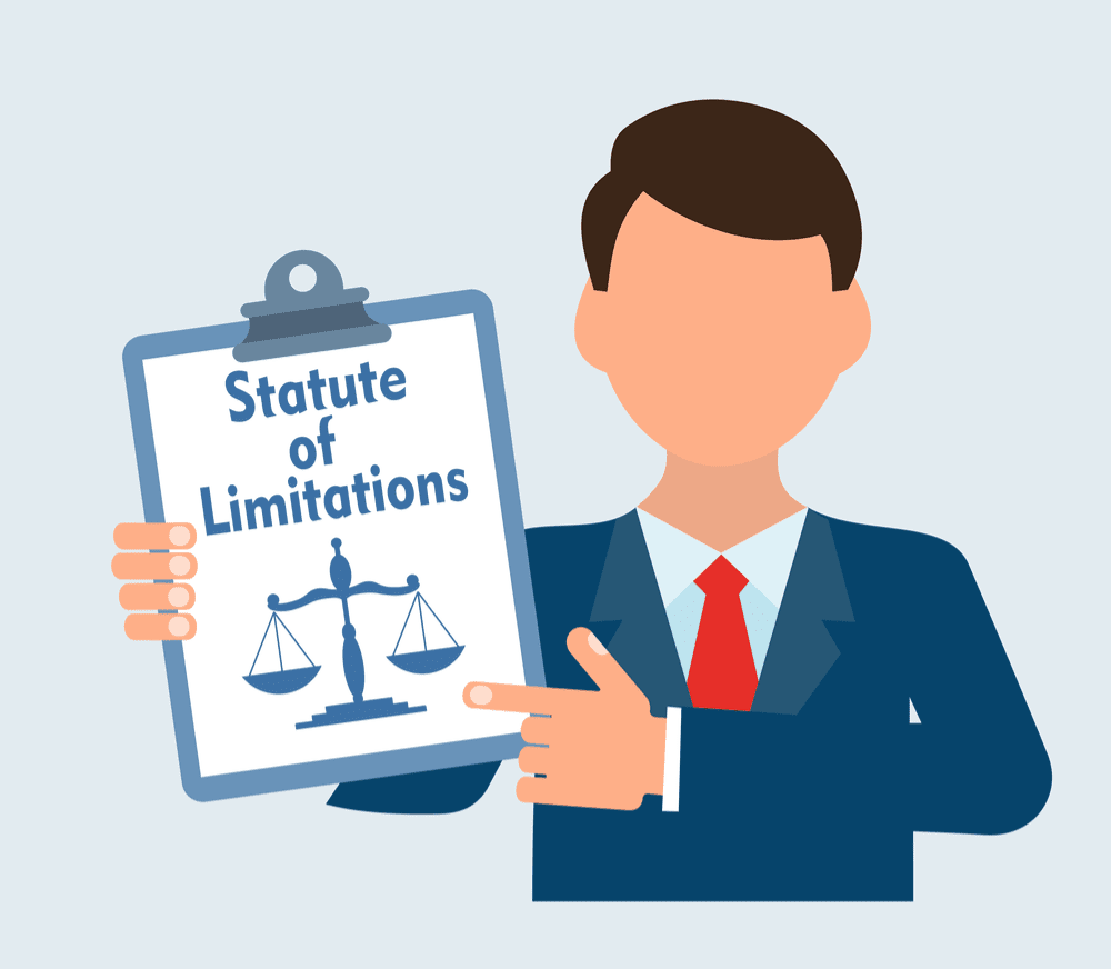 Illustration of man holding clipboard with Statute of Limitations on it