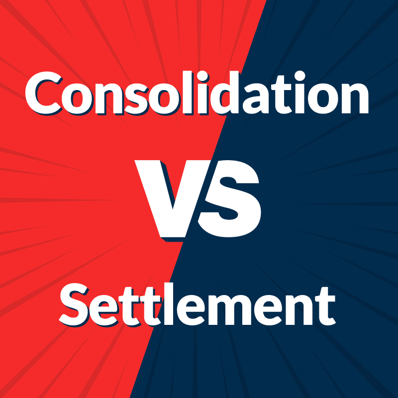 Debt Consolidation vs Debt Settlement on blue and red background