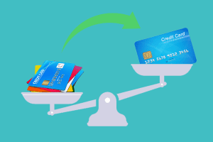 Balance transfer credit card on scale