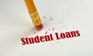 Student loans written on paper being erased by pencil