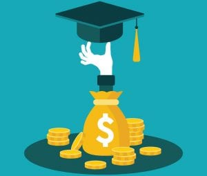 Illustration of coins and money bag with graduation cap sticking out of it