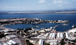 Aerial view of the U.S. Naval Station Guantanamo Bay's windward side looking southwest