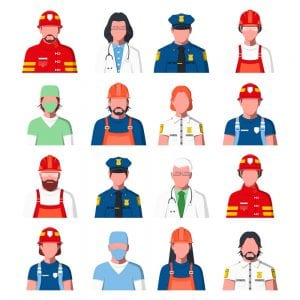 Illustrated picture of types of public services employees in uniform