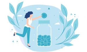 Illustration of woman putting coin into money jar
