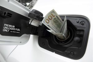 Wad of money stuck in the gas pump